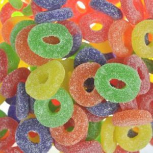 Assorted fruit jelly ring gummies