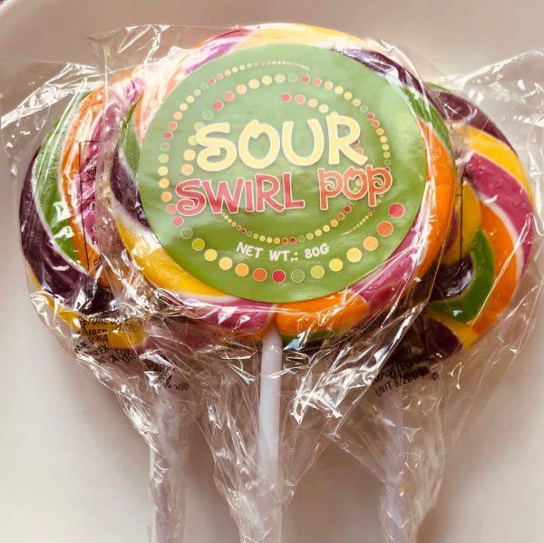 Sour circle swirl rainbow lollipop